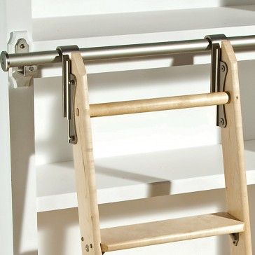 Rockler Classic Rolling Library Ladder - Ladder Hardware, Satin Nickel - Storage and Organization - Hardware