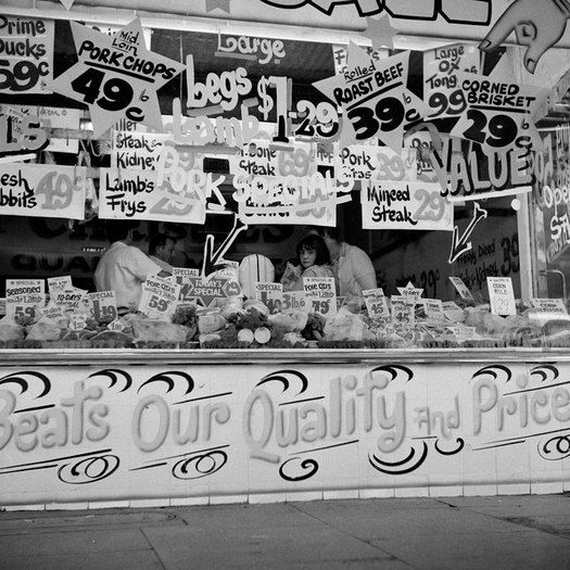 Angus O'Callaghan, Butcher shop window, 1969.From the Marvellous Melbourne Collection, Kozminsky Gallery: Culture Stories, Shops Windows, Marvel Melbourne, Butcher Shops, City Streets, Cities Street, Kozminski Gallery, Butcher Boucherie, Angus O' Callaghan