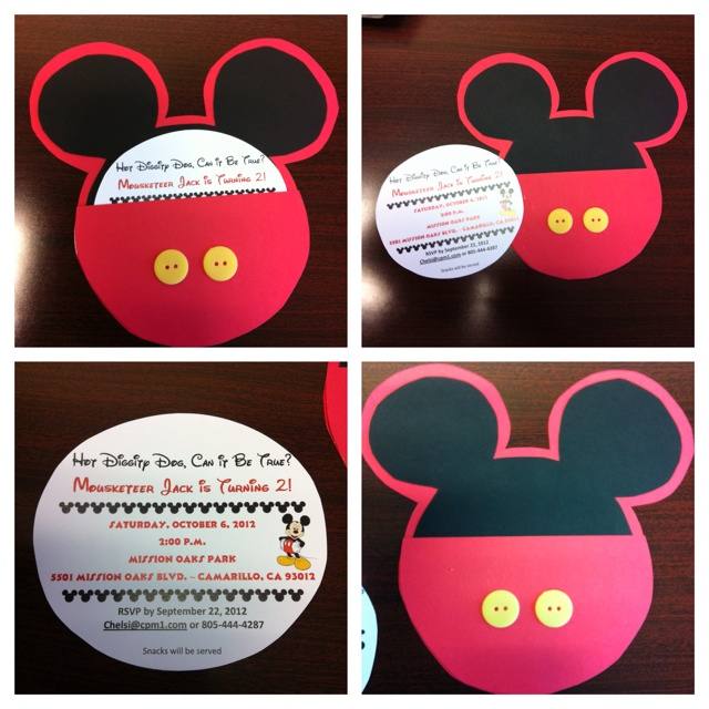 351 best mickey mouse birthday images on pinterest mickey mouse homemade mickey mouse invitations for my sons 2nd birthday stopboris Gallery