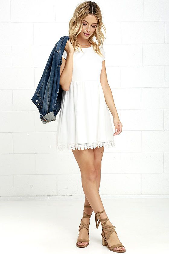 We've all heard that we should give our all at everything we do, and the Wholehearted Off White Babydoll Dress is right on board! Woven poly fabric creates an overall loose-fitting babydoll silhouette with a rounded neck, short sleeves, and a wide-cut skirt with a crochet lace-trimmed hem. Keyhole with button closure at back.