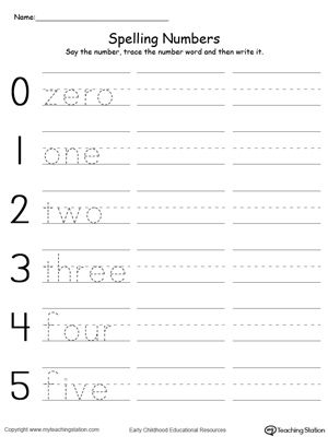 **FREE** Tracing and Writing Number Words 0-5 Worksheet. Practice spelling and…