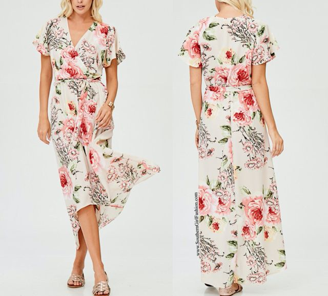 SOUTHERN GIRL FASHION  Floral Maxi Dress Printed High Low Long Draped Wrap Gown