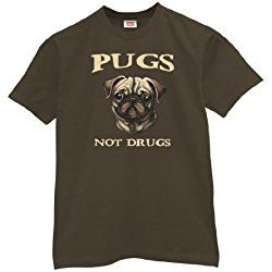 Pugs Not Drugs T-shirt-Mens-Brown-Large