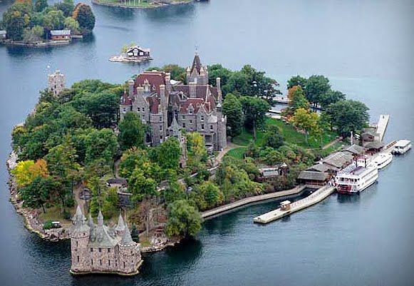 Boldt Castle in Alex Bay in the 1000 Islands ! I've been through this castle many times and am still fascinated by it ! Built at the turn of the century by George C. Boldt. He built it for his wife. As she died before it was completed, he stopped all construction and never returned to the castle as long as he lived ! The castle contains some rooms still unfinished as he left them !!