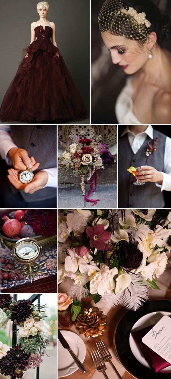 vintage glam wedding color palette inspiration board | via junebugweddings.com