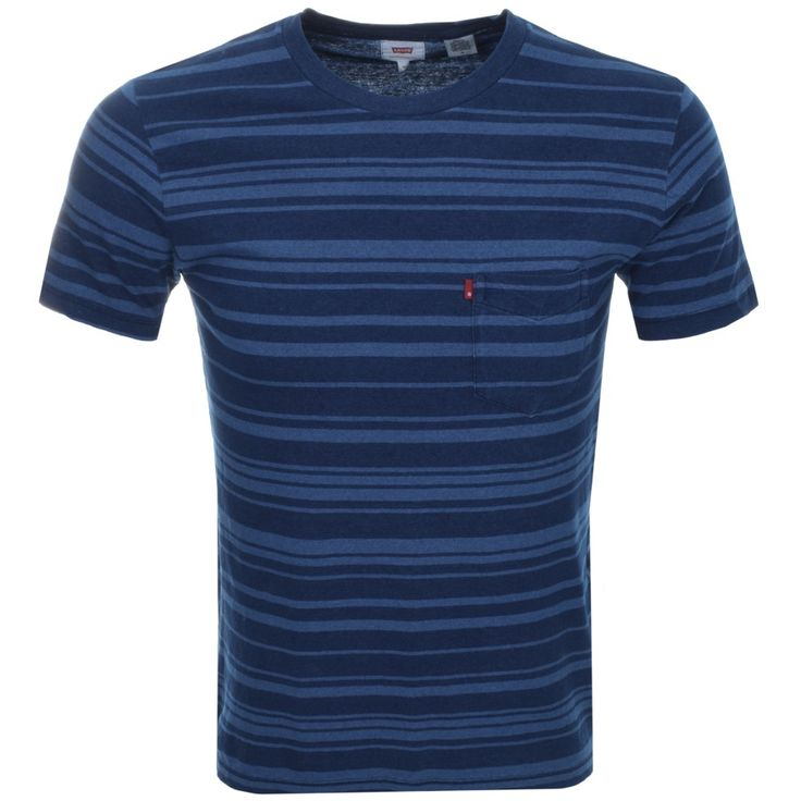 Levis Striped Sunset Pocket Crew Neck T Shirt In Indigo Blue, An overall irregular horizontal striped design in indigo blue and light blue. A ribbed crew neckline with short sleeves. A pouch pocket is on the left of the chest featuring the signature woven Levis logo pinch tag in red and white. 100% Cotton. The Brand New Collection Of Fashionable Levis T Shirts And Polo T Shirts Live Online UK.