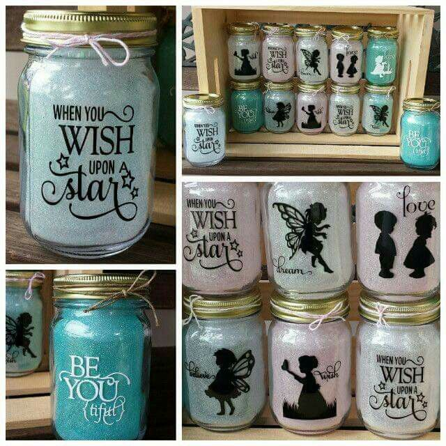 Disney decorated mason jars.