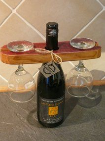 Glass and Bottle display Piece. Recycled from a French Oak Wine Barrel. Finished in Satin Varnish.