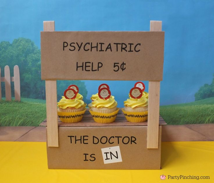 Lucy's Psychiatric Booth DIY, Charlie Brown cupcakes, - The Peanuts Movie Party by PartyPinching.com