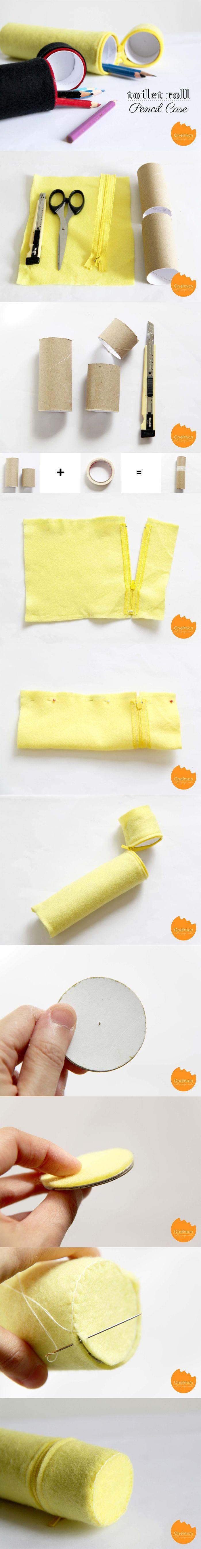 DIY Paper roll pencil case