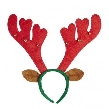Diadema con cuernos y orejas de reno. Confeccionada con los tipicos colores navideños y con cascabeles. Perfecta para acompañarte en las celebraciones de estas Navidades, un complemento divertido y original que no te puede faltar.  Inlcuye: Diadadema de reno en fieltro con cascabeles. http://www.disfracessimon.com/disfraces-complementos-navidad/4003-cuernos-de-reno-con-cascabeles-y-orejas.html