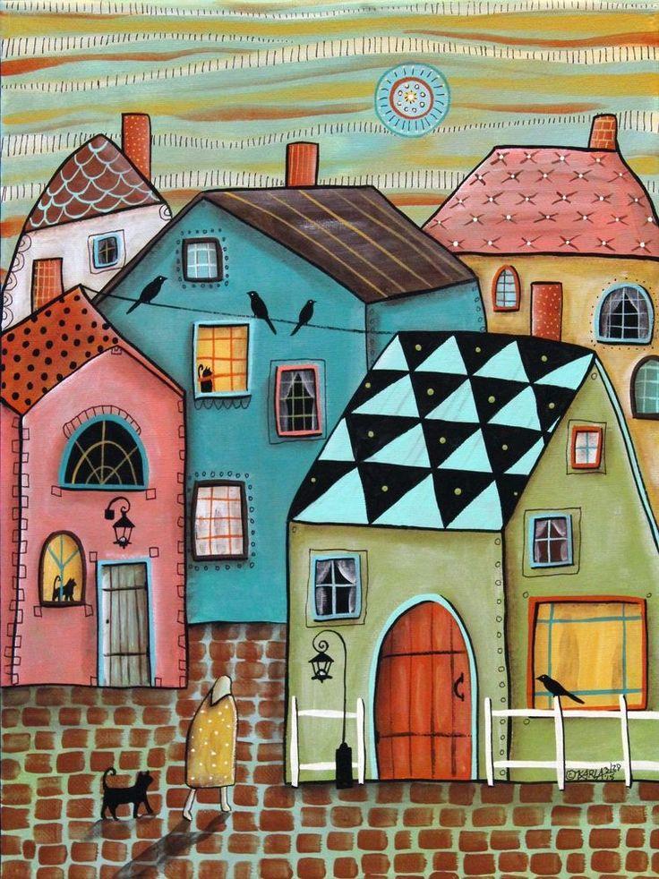 In Town 12x16 inch Cats Birds ORIGINAL CANVAS PAINTING Folk Art ABSTRACT Karla G #FolkArtAbstractPrimitive