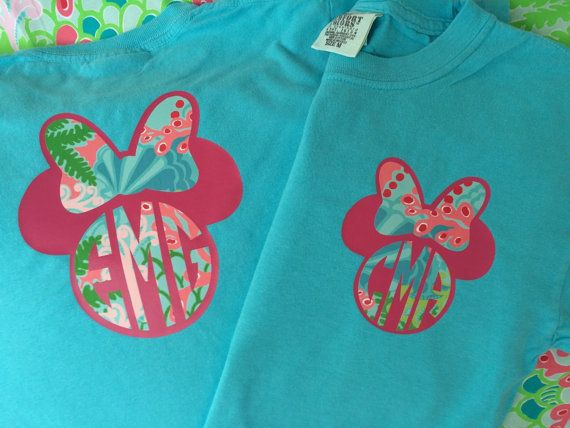 Disney Mickey / Minne Monogram Short or Long Sleeve Shirt or Tank Top ~ Personalized Custom Women's and Children;s