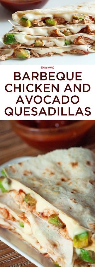 Our Barbecue Chicken and Avocado Quesadillas are far from ordinary. We skinnied up a traditional quesadilla with low-fat cheese and whole wheat tortillas, utilized avocado for a healthy fat, included plenty of chicken for protein, and added barbeque sauce for a nice zing of flavor. So Good!!!