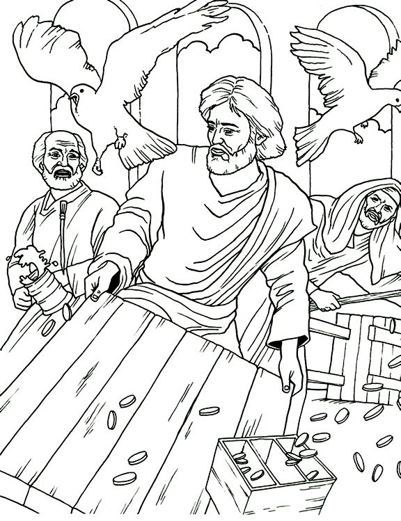 Jesus Cleansing The Temple Coloring Page Day 2 Of Holy Week