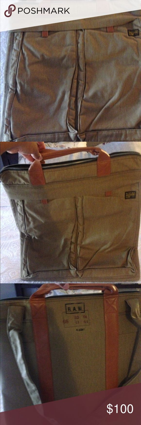 Great work or school bag! Or even to travel! G-Star RAW bag! 18 X 17! It has two sides in the inside with a small zipper compartment .  On the outside you will find two compartments ! Rare find! G Star RAW Bags