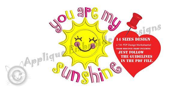 Sun Applique Embroidery Design You Are My Sunshine Summer
