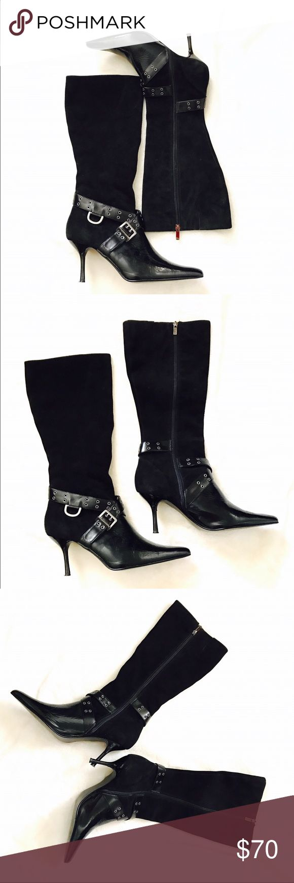 Colin Stuart Suede Pointed-toe Boots Very chic boots from Colin Stuart. Black suede and patent leather. The buckle and criss cross details are so gorgeous. Side zip up closure. In excellent used condition. Colin Stuart Shoes Heeled Boots