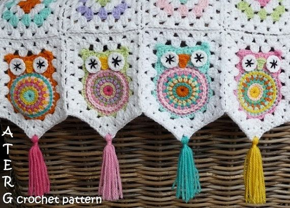 cute granny square owl blanket with tassels