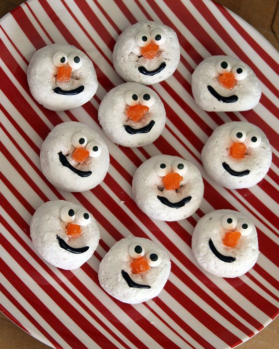 Store-bought Hostess doughnuts are made special when they're turned into smiley snowmen. Source: A Spotted Pony