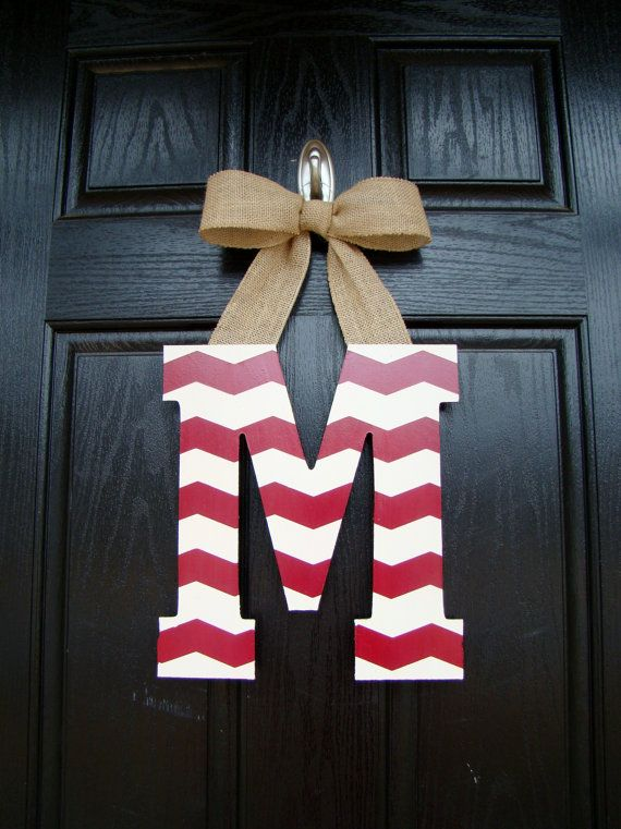 Chevron Painted Letter Door Hanger Customized by WeatheredDesigns
