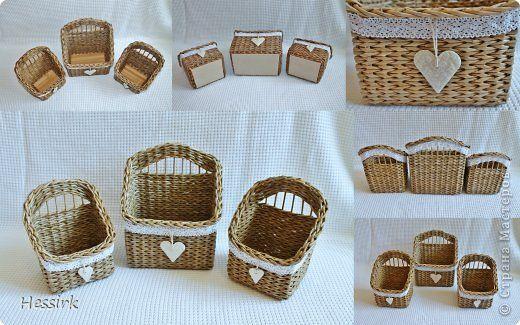 Поделка изделие Плетение Два комплекта Трубочки бумажные фото 1