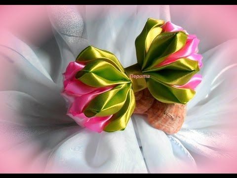 Квітка канзаши з репсової стрічки. Многослойка канзаши из ленты с принтом. Flower kanzashi - YouTube