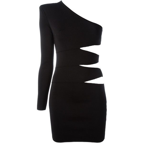 Balmain One Shoulder Dress found on Polyvore featuring dresses, black, balmain dress, one sleeve cut out dress, one shoulder cocktail dress, form fitting cocktail dresses and short dresses
