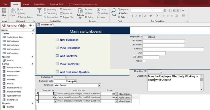Access Employee Performance Evaluation Form Templates Database   Staff Evaluation  Form
