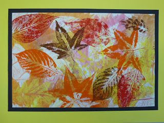 Layered Leaf Printing: 3 layers: crayon rubbings, watercolor around the leaves, and printed positive print
