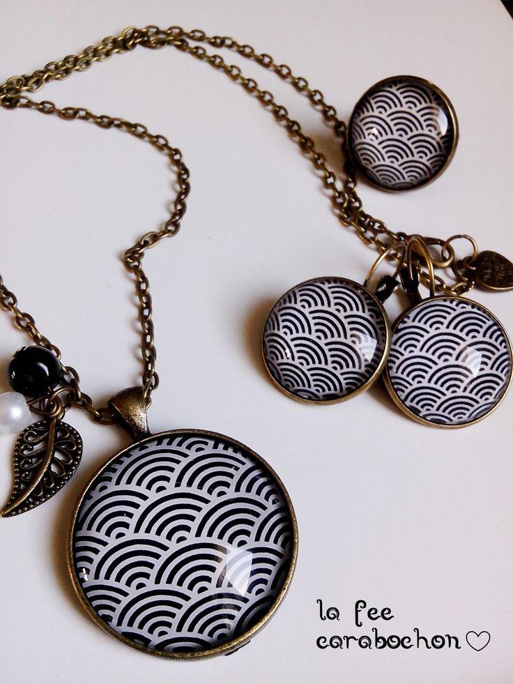 parure complète, collier+boucles d'oreilles+bague, *vagues japonaises* géométrie eventail noir blanc japon retro, cabochon verre : Parure par la-fee-carabochon