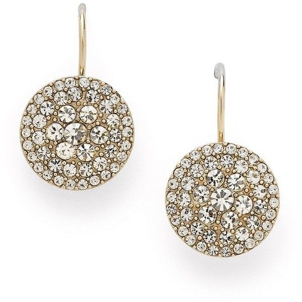 Wow really like these. Gives you the effect of a stud but its a dandle earing just beautiful, I will have to get these for myself! Fossil Glitz Disc Earrings - Gold-Tone ($48) found on Polyvore
