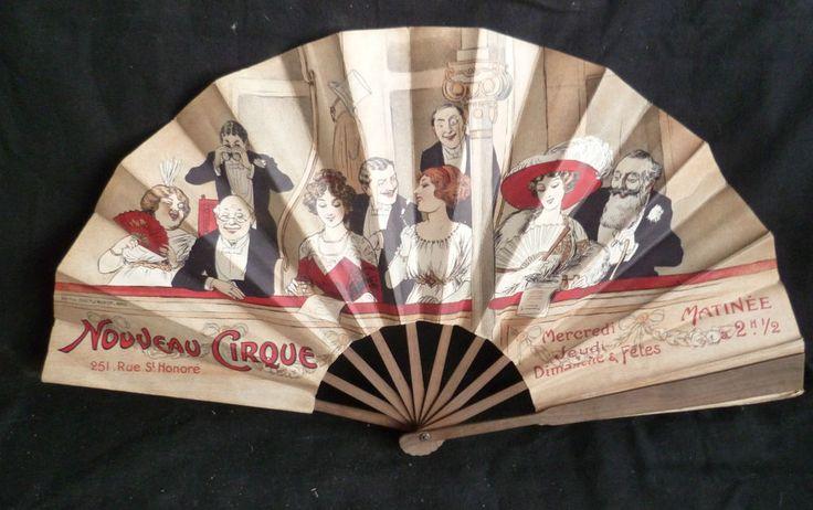 éventail publicitaire ancien,nouveau cirque- Advertising former range,new circus