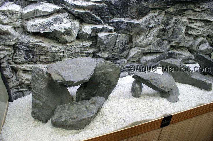 Natural rocks and matching 3D grey rock background plus white natural gravel. All available to order at www.aqua-maniac.com
