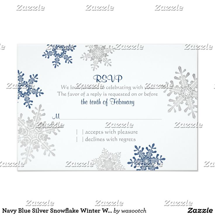 Navy Blue Silver Snowflake Winter Wedding RSVP Card You can easily personalize the text on this simple silver grey, navy blue, and white snowflakes winter wedding RSVP reply card. To change the text, use the personalize options. Or, for more extensive text changes, including changes to the font, font color, font size, and/or text placement, use the customize it option. Change the text and use this for a reception, direction, accommodation, and/or wedding website insert card. The design has a…