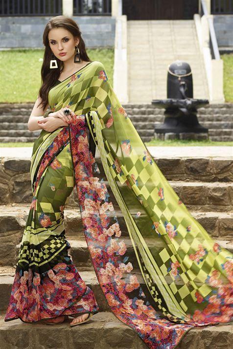 Astounding Multicolor Georgette Floral Print Saree