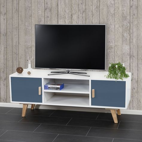 Lowboard Malmö T260, TV-Rack Fernsehtisch, Retro-Design 45x120x40cm ~ blaue Türen