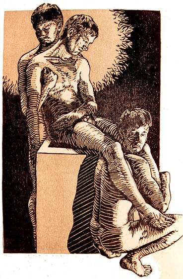Stations of the Cross: Entombment Woodcut - Tyrus Clutter 2003