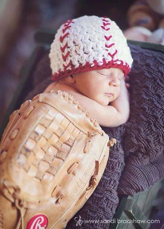 Newborn Baseball Beanie, photo prop, baby baseball hat, sports hat, baseball baby, baseball costume, softball hat newborn photos, sports themed newborn photos #baby #photography #newborn