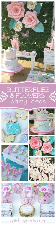 Take a look at this gorgeous Butterflies & Flowers birthday party. The flower backdrop is fabulous! See more party ideas and share yours at CatchMyParty.com