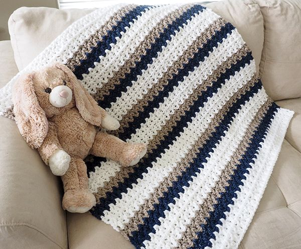 This crochet baby blanket is about as easy as it gets. As long as you can chain and double crochet, you can whip up one of these blankets yourself.