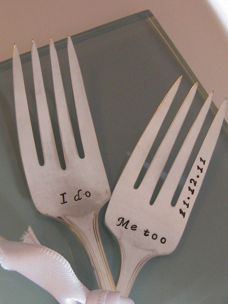 Great gift!! Vintage Upcycled I Do & Me too Wedding or Anniversary Silverplated Hand Stamped Cake Dessert Fork Set. $20.00, via Etsy.