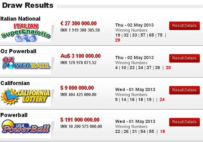 Latest Lotto Result of Playlottoworld  http://www.playlottoworld.com/lottos/results/
