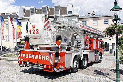 Fire engine ladder truck on a firefighting show in Austria, Eisenstadt.