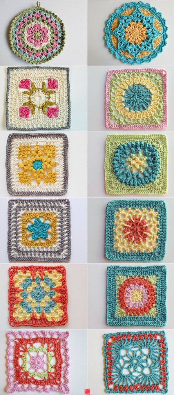 No patterns, but, some great color combo's to consider. Granny squares patterns
