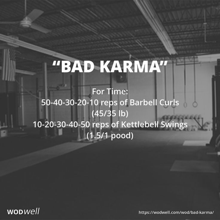 For Time: 50-40-30-20-10 reps of Barbell Curls (45/35 lb); 10-20-30-40-50 reps of Kettlebell Swings (1.5/1 pood)