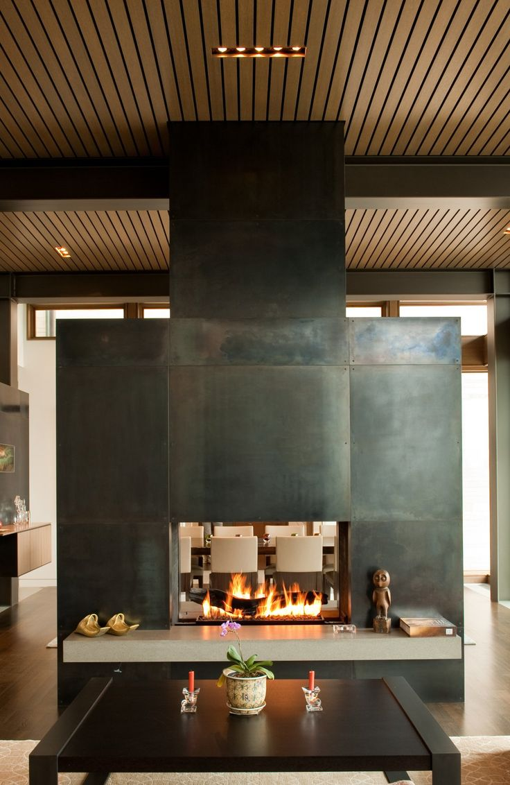 Fire Place Washington Park Hilltop Res. by Stuart Silk Architects
