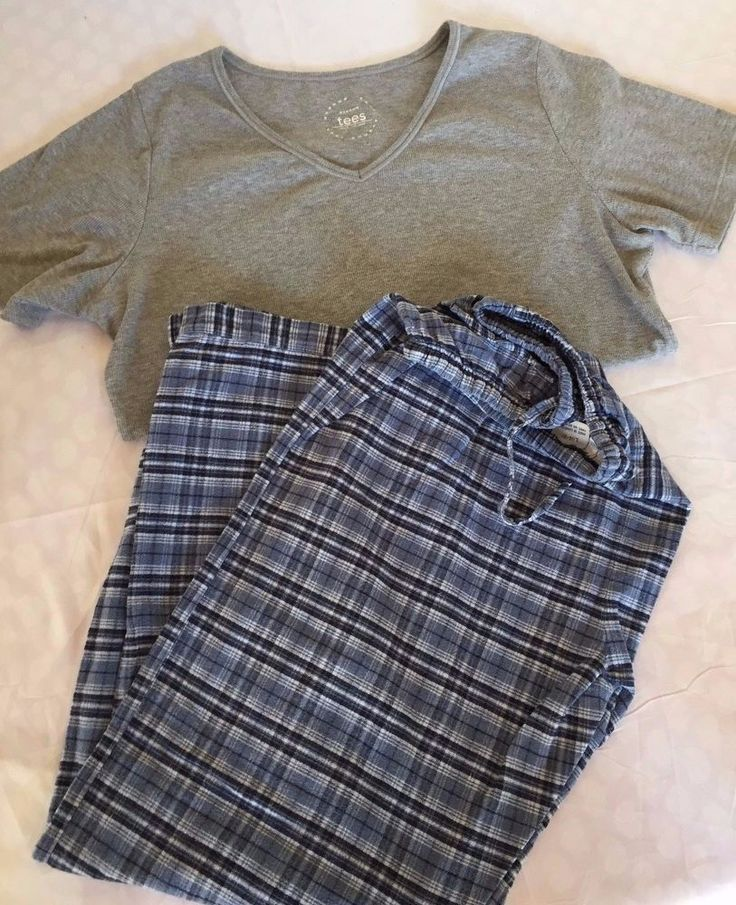 2pc Pajama Set Soft Sensation Flannel Bottoms / Avenue Tees Top Womens PJs Sz L  #SoftSensationsandAvenueTees #TShirtTopFlannelBottomPajamaSet #Sleepwear