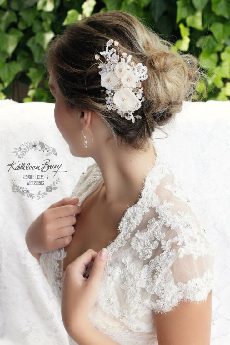 Marilyn Bridal Lace Floral Hair Comb, Blush Pink Rose Gold wedding hair piece, Lace in off white, nude, blush, white, ivory by KathleenBarryJewelry on Etsy https://www.etsy.com/listing/278966506/marilyn-bridal-lace-floral-hair-comb