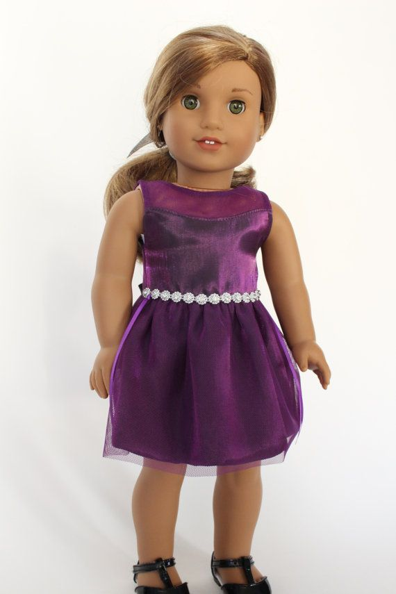 Fancy purple satin party dress with rhinestone waistline trim by LollyDollyDesigns on Etsy. Made with the Snowdrop Dress pattern. Find it here http://www.pixiefaire.com/products/snowdrop-dress-18-doll-clothes. #pixiefaire #snowdropdress